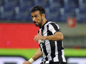 Fabio Quagliarella of Juventus in action during the Serie A match between the Serie A match between UC Sampdoria and Juventus at Stadio Luigi Ferraris on May 18, 2013