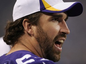 Jared Allen #69 of the Minnesota Vikings reacts on the sidelines during the third quarter of the game against the Tennessee Titans on August 29, 2013