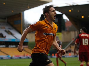 Kevin Doyle of Wolves celebrates scoring his team's second goal during the npower Championship match between Wolverhampton Wanderers and Bristol City at Molineux on March 16, 2013