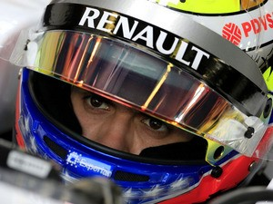 William's Venezuelan driver Pastor Maldonado sits in the pits during the first practice session at the Autodromo Nazionale circuit in Monza on September 6, 2013