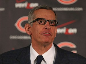 General manager Phil Emery of the Chicago Bears explains his choice of Marc Trestman to be the new head coach of the Bears at Halas Hall on January 17, 2013