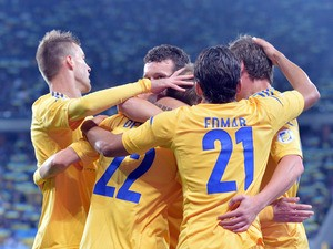 Players of Ukraine celebrate scoring against San Marino during their Brazil 2014 FIFA World Cup qualifiers, Group H, football match in Lviv on September 6, 2013
