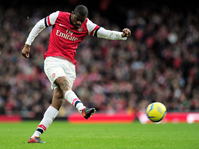 Abou Diaby of Arsenal takes a shot on goal during the FA Cup with Budweiser fifth round match between Arsenal and Blackburn Rovers at Emirates Stadium on February 16, 2013