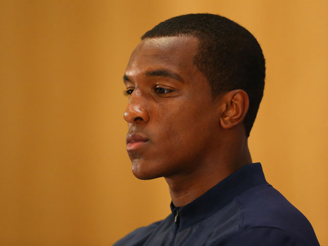 Andre Wisdom of England U21 faces the media during a press conference at St Georges Park on September 3, 2013