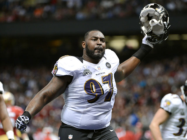 Arthur Jones #97 of the Baltimore Ravens reacts as he walks back ot the locker room for halftime against the San Francisco 49ers during Super Bowl XLVII at the Mercedes-Benz Superdome on February 3, 2013