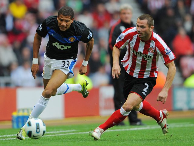 Bebe powers his way past Sunderland defender Phil Bardsley.