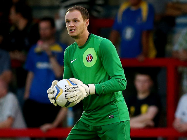 David Button of Charlton in action during the Pre Season Friendly between AFC Wimbledon and Charlton Athletic at The Cherry Red Records Stadium on July 17, 2013