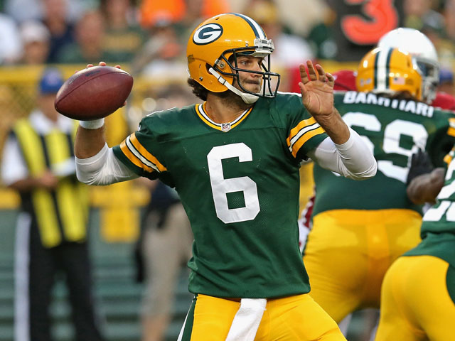 Graham Harrell #6 of the Green Bay Packers passes against the Arizona Cardinals at Lambeau Field on August 9, 2013