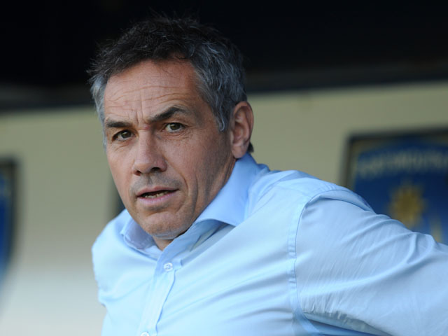Portsmouth manager Guy Whittingham looks on before the Sky Bet League Two match between Portsmouth and Chesterfield at Fratton Park on August 31, 2013