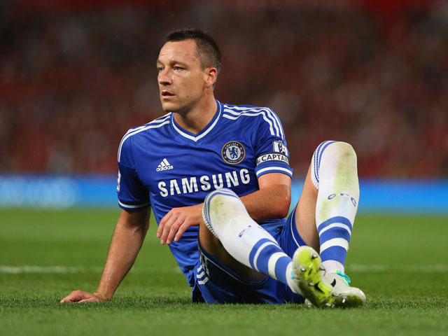 John Terry of Chelsea looks on during the Barclays Premier League match between Manchester United and Chelsea at Old Trafford on August 26, 2013
