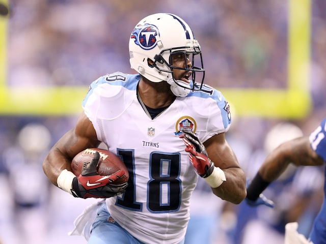 Kenny Britt of the Tennessee Titans in action against the Colts on December 9, 2012