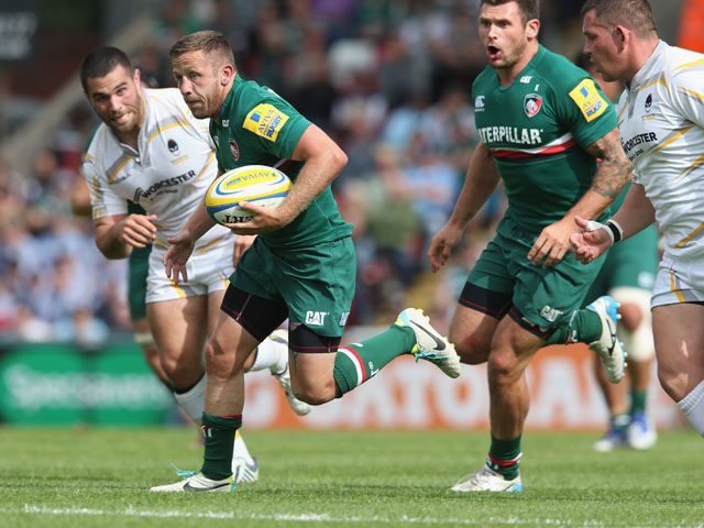 David Mele of Leicester breaks with the ball during the Aviva Premiership match between Leicester Tigers and Worcester Warriors at Welford Road on September 8, 2013
