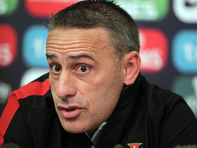 Portugal's Portuguese manager Paulo Bento speaks to journalists after a training session for Portugal national football team at Windsor Park in Belfast, Northern Ireland on September 5, 2013