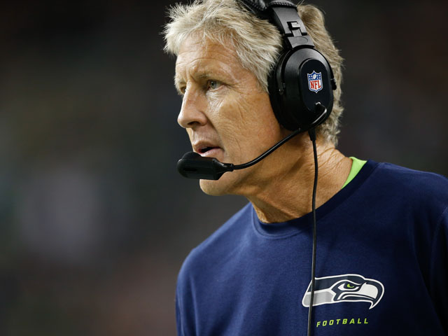 Head coach Pete Carroll of the Seattle Seahawks looks on against the Oakland Raiders at CenturyLink Field on August 29, 2013