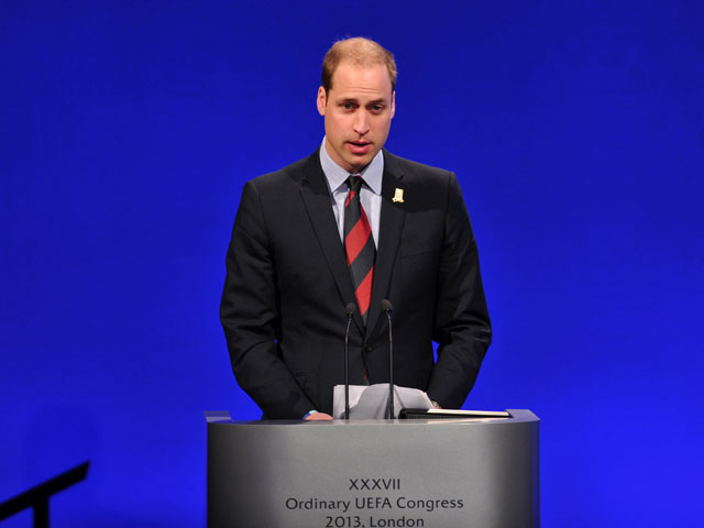 Britain's Prince William, the Duke of Cambridge speaks during the UEFA Congress in central London on May 24, 2013