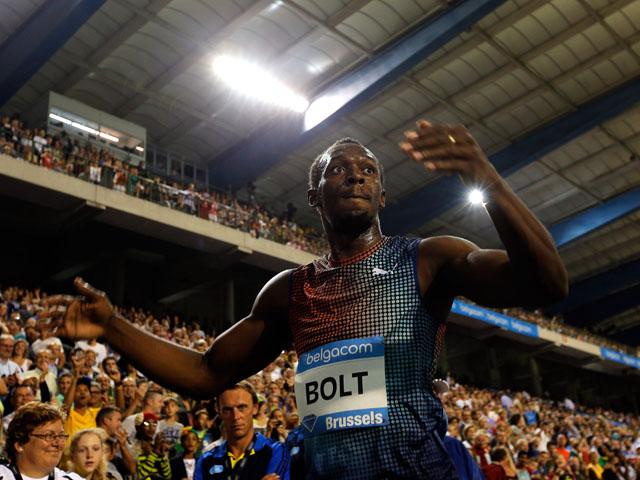 Usain Bolt of Jamaica celebrates winning the 100m final during the 2013 Belgacom Memorial Van Damme IAAF Diamond League meet at The King Baudouin Stadium on September 6, 2013