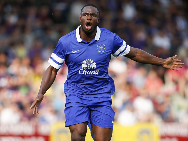 Victor Anichebe of Everton in action during the preseason friendly match between Austria Wien and FC Everton at the Generali Arena on July 14, 2013