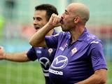 Fiorentina's Borja Valero celebrates after scoring the opener against Cagliari on September 15, 2013