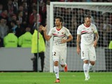 Nice's Dario Cvitanich celebrates after scoring his team's second goal against Lille on September 15, 2013