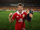 Leigh Halfpenny of the Lions celebrates their victory during the International Test match between the Australian Wallabies and British & Irish Lions at ANZ Stadium on July 6, 2013