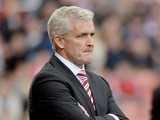 Stoke manager Mark Hughes on the touchline during the match against Manchester City on September 14, 2013