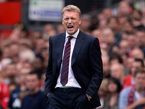 Manchester United manager David Moyes on the touchline against Crystal Palace on September 14, 2013