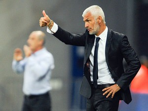 Ajaccio's head coach Fabrizio Ravanelli on the touchline during the match against Sochaux on August 31, 2013