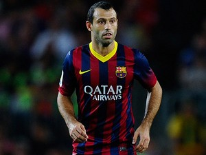 Barcelona's Javier Mascherano in action during the match against Atletico Madrid on August 28, 2013
