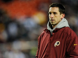 Washington Redskins offensive coordinator Kyle Shanahan watches the game against Dallas Cowboys on December 30, 2012