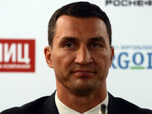 World heavyweight champion Wladimir Klitschko from the Ukraine attends his joint press conference with and Russia's heavyweight boxer Alexander Povetkin in Moscow, on August 12, 2013