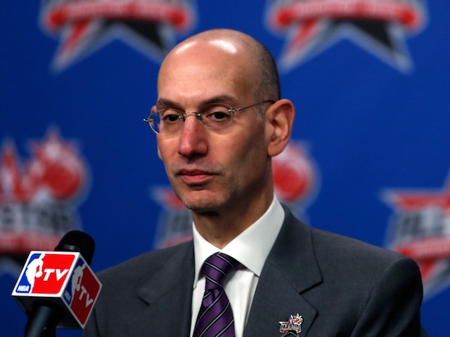 NBA Commissioner Adam Silver talks to the press on February 16, 2013