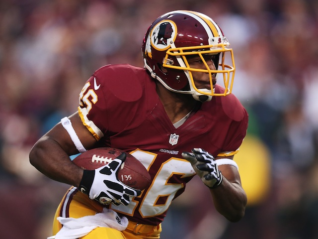 Washington RB Alfred Morris carries the ball against Seattle on January 6, 2013