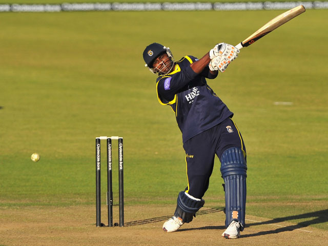 Dimitri Mascarenhas of Hampshire has a swing and a miss in his final innings at the Ageas Bowl during the Yorkshire Bank 40 Semi Final match between Hampshire and Glamorgan at Ageas Bowl Cricket Ground on September 07, 2013