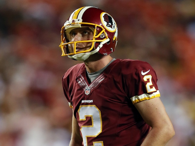 Skins' Place Kicker Kai Forbath in action against Pittsburgh on August 19, 2013
