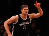 Brooklyn Nets player Brook Lopez in action against Chicago on April 20, 2013