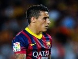 Barcelona forward Cristian Tello in action against Sevilla on September 14, 2013