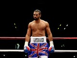 David Haye in the ring moments before his fight against Dereck Chisora on July 14, 2012