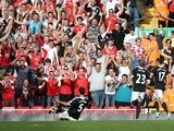 Southampton defender Dejan Lovren celebrates his goal against Liverpool on September 21, 2013