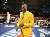 Frank Bruno attends the WBO World Lightweight title fight between Ricky Burns and Paulus Mosesat the Braehead Arena on March 10, 2012