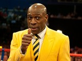 Frank Bruno in the ring at the WBO World Lightweight title fight between Ricky Burns and Paulus Mosesat on March 10, 2012