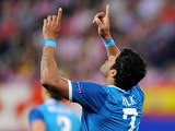Zenit's Hulk celebrates after scoring the equaliser against Atletico Madrid during the Champions League on September 18, 2013