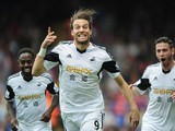 Swansea's Michu celebrates after scoring the opening goal against Crystal Palace during their Premier League match on September 22, 2013
