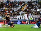 Barca forward Pedro scores against Rayo Vallecano on September 21, 2013