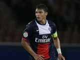 Paris Saint-Germain's Brazilian defender and captain Thiago Silva controls the ball during the French L1 football match between Paris Saint-Germain (PSG) and Ajaccio (ACA) at the Parc des Princes stadium on August 18, 2013