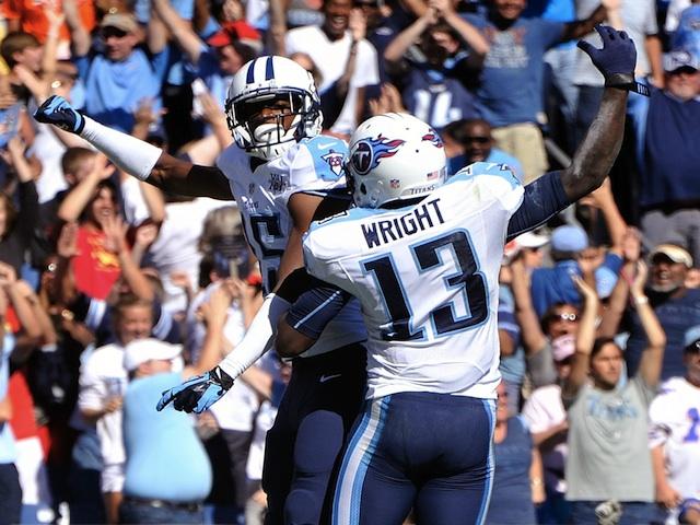 Titans' Justin Hunter celebrates a touchdown against San Diego on September 22, 2013