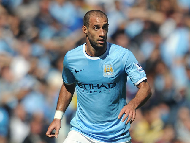 Pablo Zabaleta of Manchester City in action during the Barclays Premier League match between Manchester City and Hull City at the Etihad Stadium