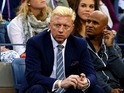 Boris Becker watches the men's singles semifinal match between Rafael Nadal of Spain and Richard Gasquet of France on Day Thirteen of the 2013 US Open at USTA Billie Jean King National Tennis Center on September 7, 2013