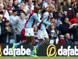 Karim El Ahmadi of Aston Villa celebrates his goal with team mate Fabian Delph during the Barclays Premier League match between Aston Villa and Manchester City at Villa Park on September 28, 2013