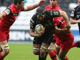 Ian Gough of the Ospreys charges upfield during the Heineken Cup match between Ospreys and Stade Toulouse at the Liberty Stadium on December 15, 2012