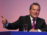 Jeff Stelling addresses the audience during Gillette Soccer Saturday Live with Jeff Stelling on March 19, 2012